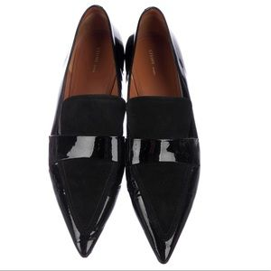 Celine Black Patent Leather Pointed Toe Loafers